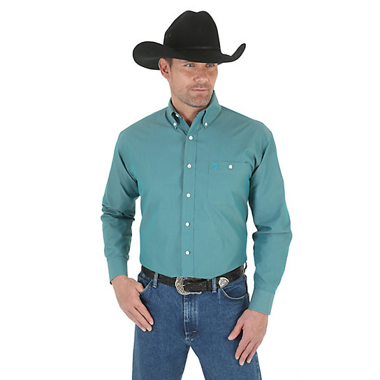 George Strait Long Sleeve Button Down Solid Shirt (Big & Tall Sizes)