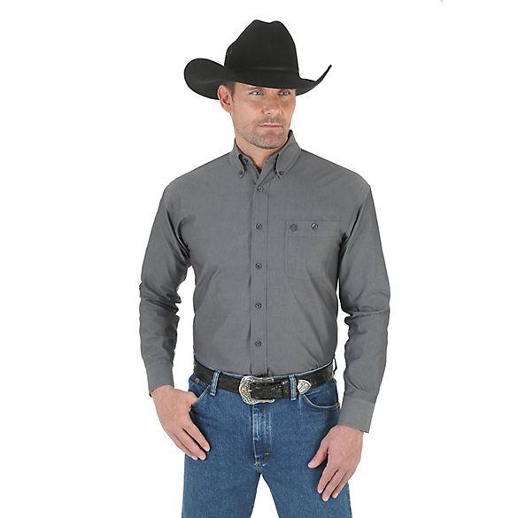 George Strait Long Sleeve Button Down Solid Shirt