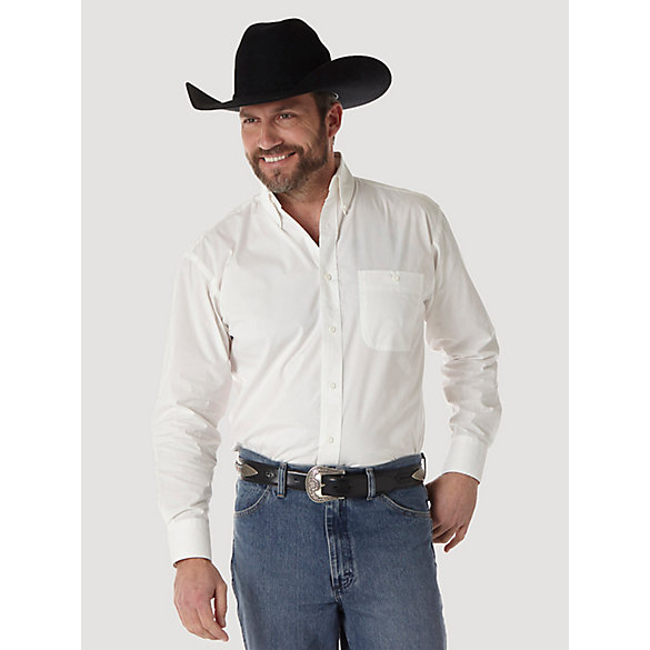 Men's George Strait Long Sleeve Button Down Solid Shirt (Tall Sizes)
