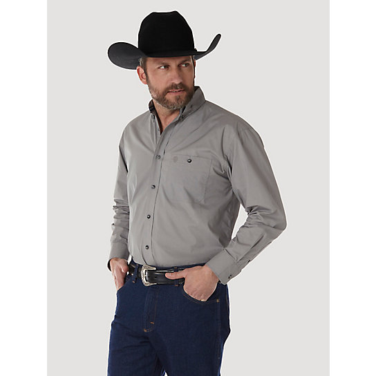 Men 39 s george strait long sleeve button down solid shirt for Tall button down shirts