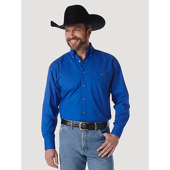 Men's George Strait & Wrangler® National Patriot™ Button Down Solid Shirt