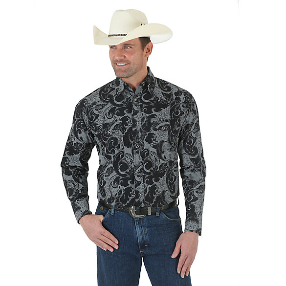 George Strait Troubadour Spread Collar Long Sleeve Printed Shirt  - Black/White (Tall Sizes)