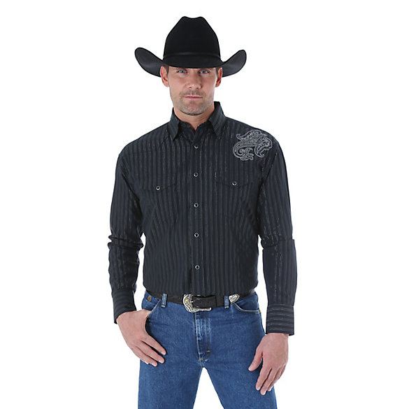 George Strait Troubadour Long Sleeve Western Snap Striped Shirt (Big & Tall Sizes)