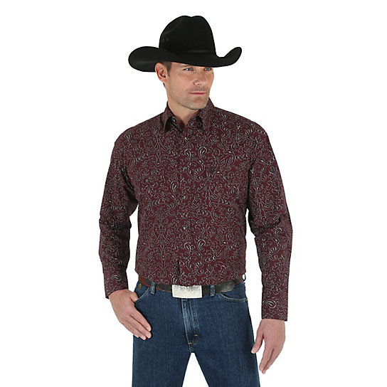 Men's George Strait Troubadour Long Sleeve Western Snap Print Shirt (Tall Sizes)
