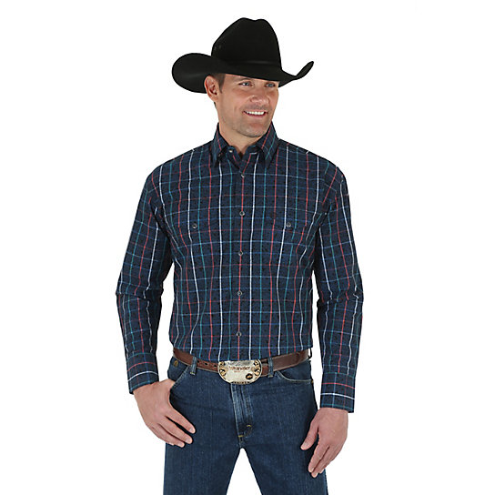Men's George Strait Troubadour Long Sleeve Western Snap Plaid with Overprint Shirt