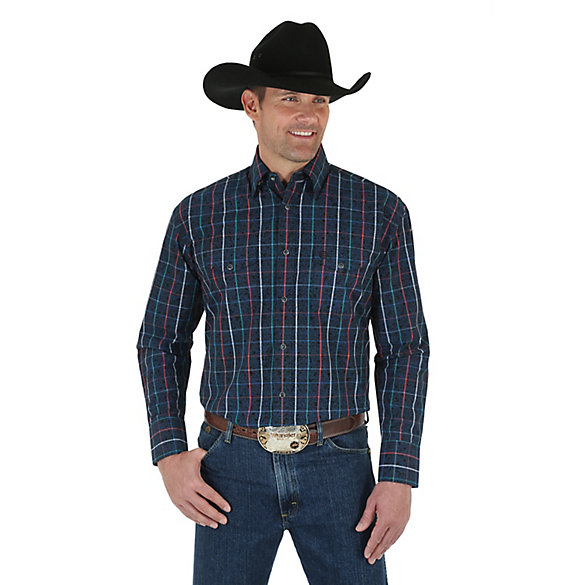 Men's George Strait Troubadour Long Sleeve Western Snap Plaid with Overprint Shirt (Tall Sizes)