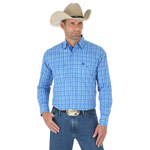 Men's George Strait Troubadour Long Sleeve Western Snap Dobby Plaid Shirt