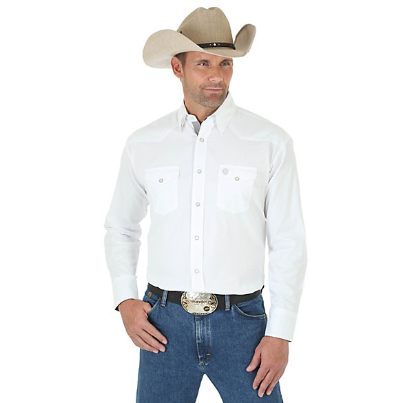 Men's George Strait Troubadour Long Sleeve Western Snap Jaquard Solid Shirt (Tall Sizes)