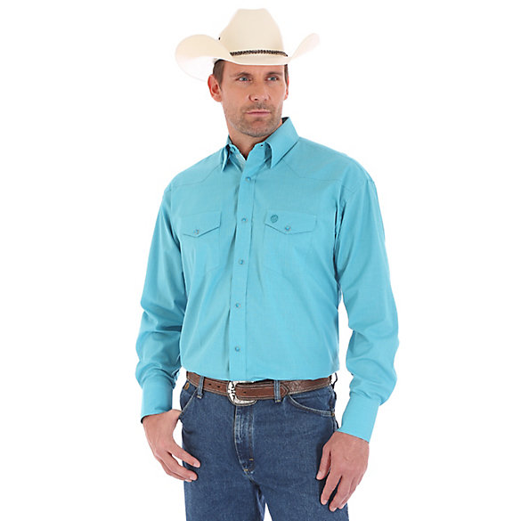 Men's George Strait Troubadour Long Sleeve Western Snap Tonal Solid Shirt
