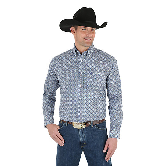 Men's George Strait Long Sleeve Button Down Print Shirt