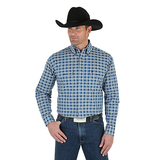 Men's George Strait Long Sleeve Button Down Two Pocket Plaid Shirt