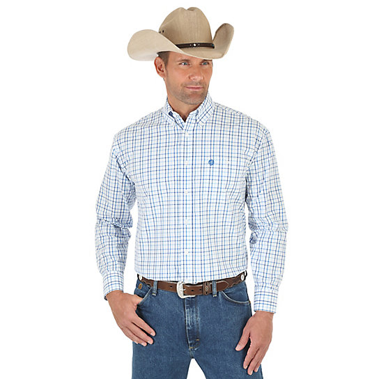 Men's George Strait and Wrangler® National Patriot™ Long Sleeve Button Down One Pocket Plaid Shirt (Big & Tall)