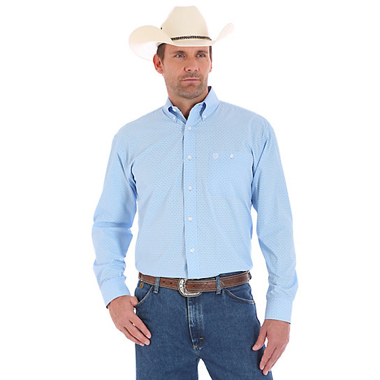 Men's George Strait Long Sleeve Button Down Print Shirt (Big & Tall)