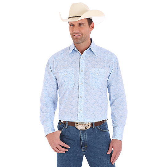 Men's George Strait Long Sleeve Western Snap Print Shirt
