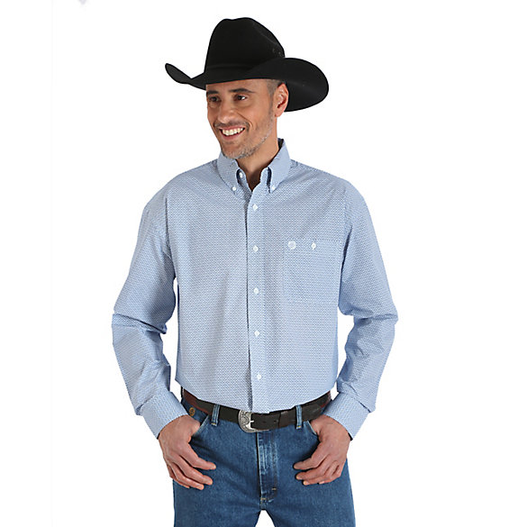 Men's George Strait & Wrangler® National Patriot Long Sleeve Button Down Print Shirt