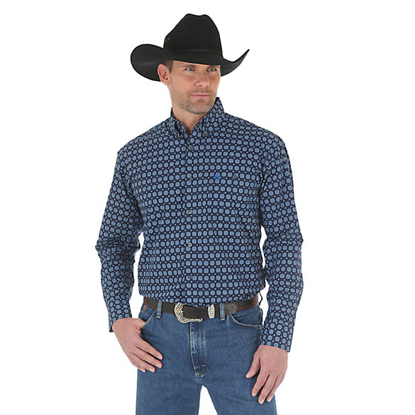 Men 39 s george strait long sleeve button down print shirt for Tall button down shirts