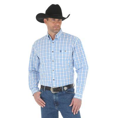 Men S George Strait Long Sleeve Button Down Plaid Shirt