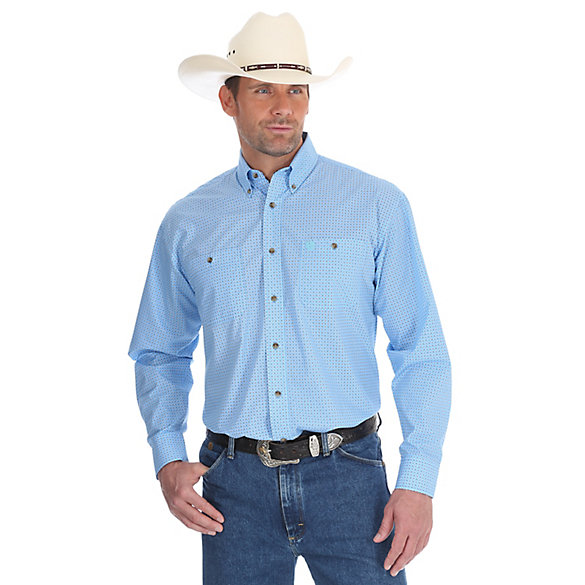 Men's George Strait Long Sleeve Two Pocket Button Down  Print Shirt