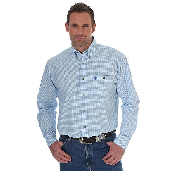 Men 39 s george strait long sleeve button down plaid shirt for Mens medium tall shirts