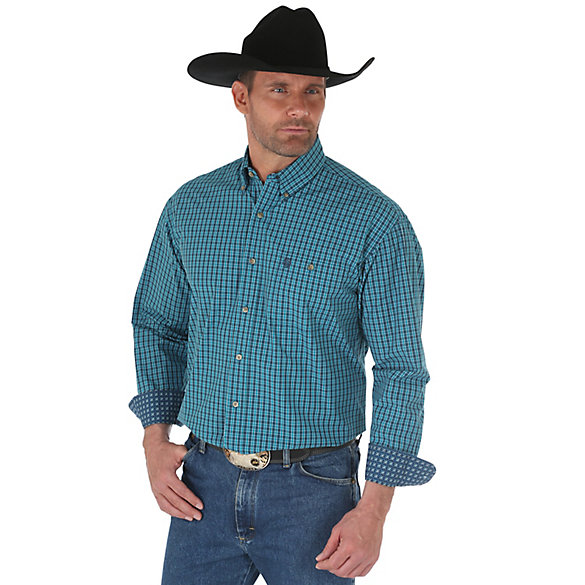 Men's George Strait Long Sleeve Button Down One Pocket Plaid Shirt