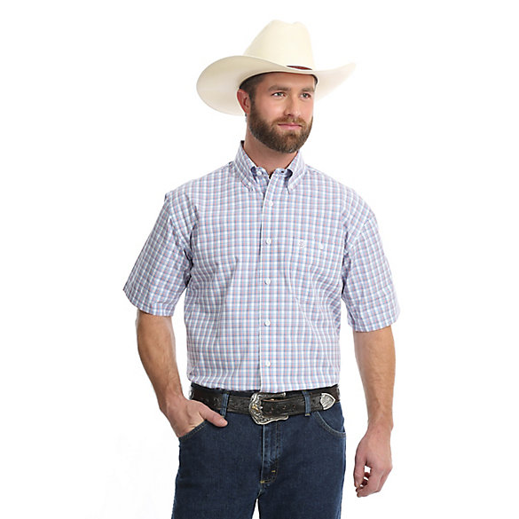 Men's George Strait Short Sleeve Button Down One Pocket Plaid Shirt