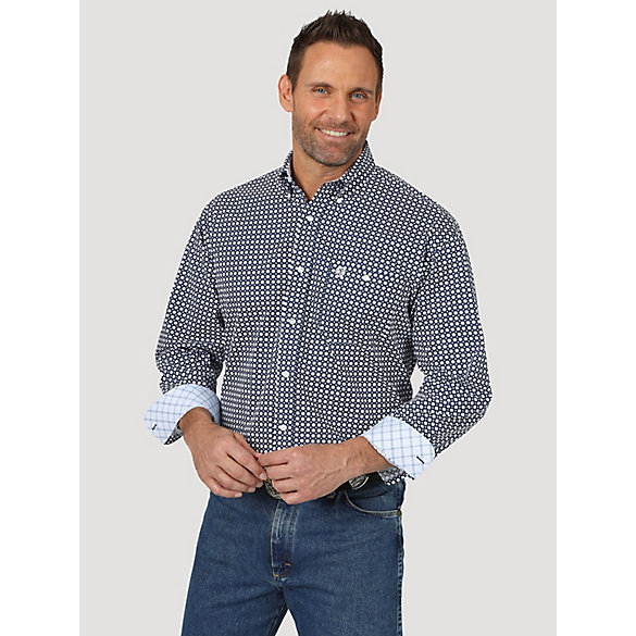 Men's George Strait Long Sleeve Button Down One Pocket Printed Shirt
