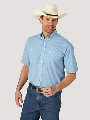 Men's George Strait Short Sleeve 2 Pocket Button Down Print Shirt