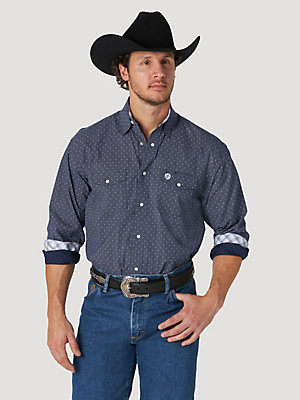 Men's George Strait Troubadour Long Sleeve Western Snap Print Shirt