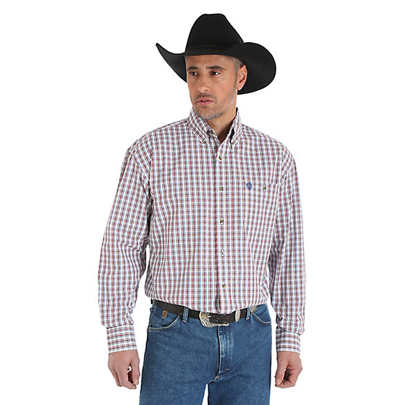 George Strait Long Sleeve Button Down Plaid Shirt