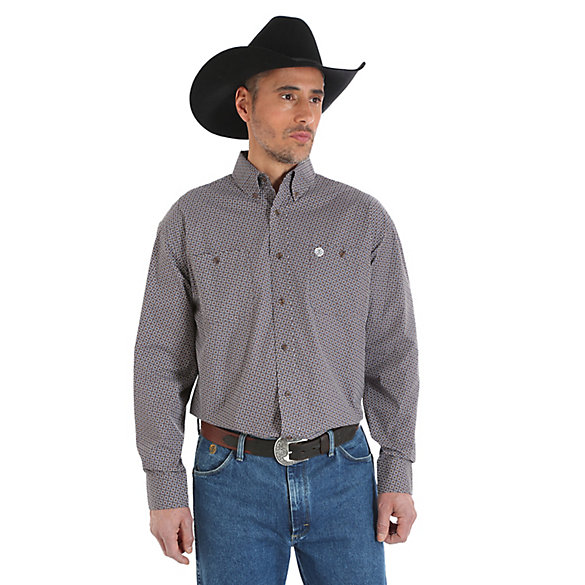 George Strait Long Sleeve Two Pocket Button Down  Print Shirt