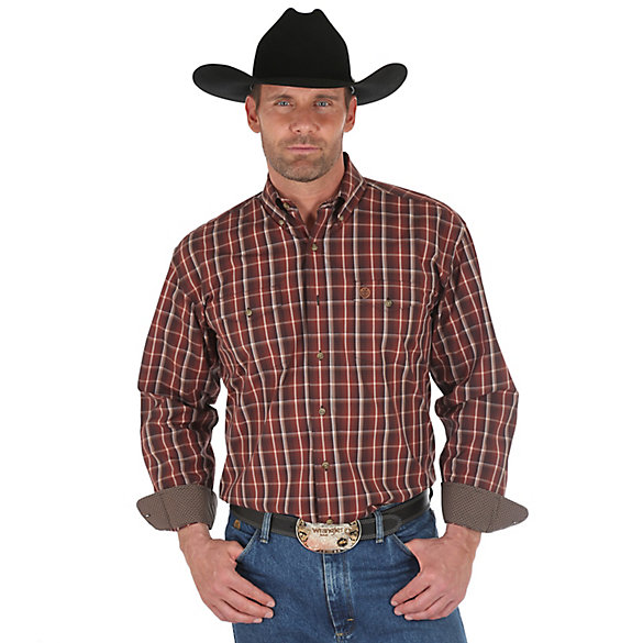 Men's George Strait Long Sleeve Button Down Two Flap Pocket Plaid Shirt