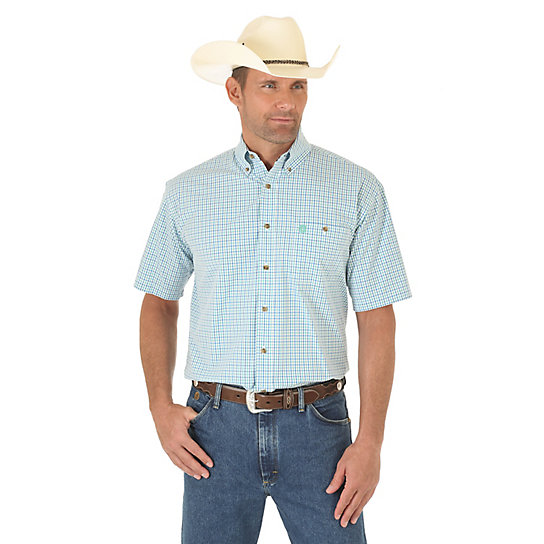 Men's George Strait Short Sleeve Button Down One Pocket Plaid Shirt (Big & Tall)