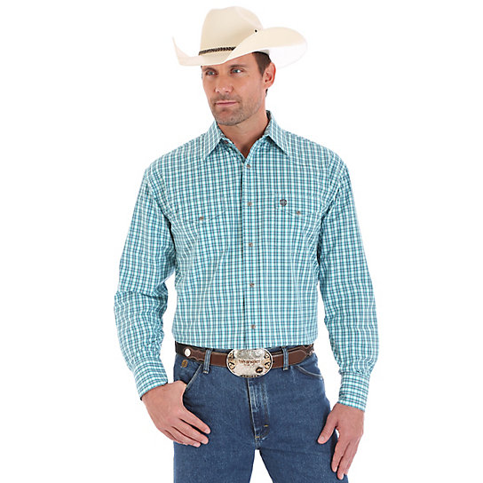 Men's George Strait Long Sleeve Western Snap Plaid Shirt