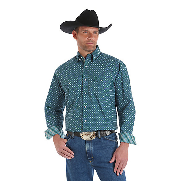 Men's George Strait Long Sleeve Western Snap Two Flap Pocket Printed Shirt