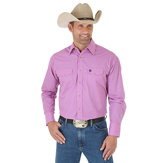 Men's George Strait and Wrangler® National Patriot™ Long Sleeve Western Snap Two Pocket Print Shirt
