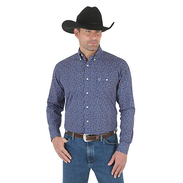 George Strait Long Sleeve Button Down Print Shirt (Big & Tall Sizes)