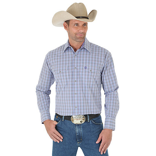Men's George Strait and Wrangler® National Patriot™ Long Sleeve Western Snap Two Pocket Plaid Shirt (Big & Tall)