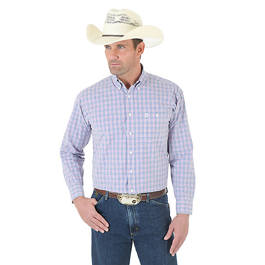 George Strait Button Down Collar Long Sleeve Plaid Shirt - White/Blue/Rose (Big & Tall Sizes)