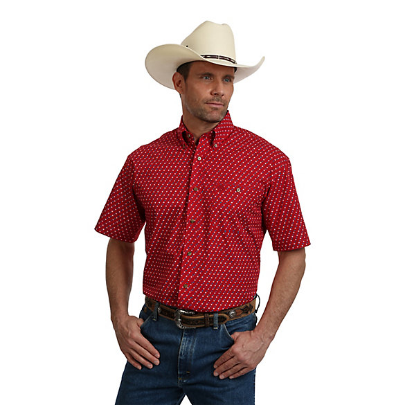 Men's George Strait Short Sleeve Button Down One Pocket Print Shirt