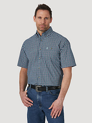 Men's George Strait Short Sleeve 1 Pocket Button Down Plaid Shirt