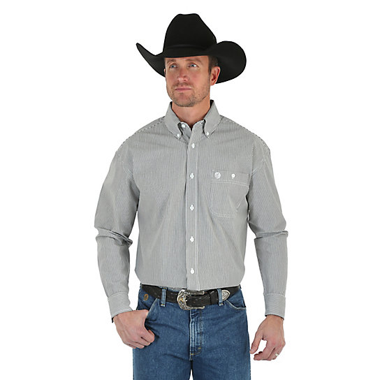 Men's George Strait Long Sleeve Button Down Striped Shirt (Big & Tall)