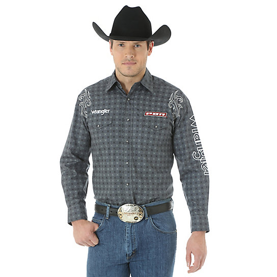Men's Logo Long Sleeve Western Snap Printed Shirt (Tall Sizes)