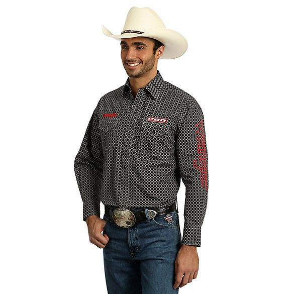 c3fc46930ee Men s Wrangler® PBR® Logo Long Sleeve Western Snap Plaid Shirt ...