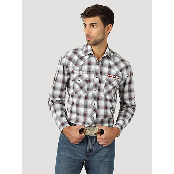 Men's Wrangler® PBR® Logo Long Sleeve Plaid Western Snap Shirt