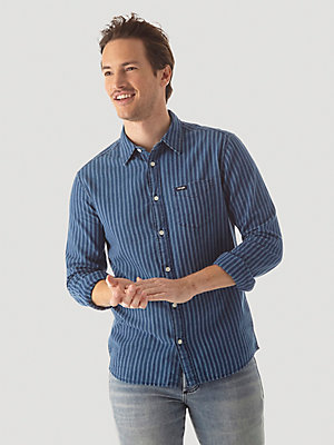 Men's Denim Stripe Button Down Shirt