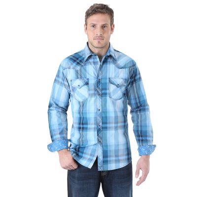 Wrangler 174 20x 174 Long Sleeve Western Snap Plaid Contrast