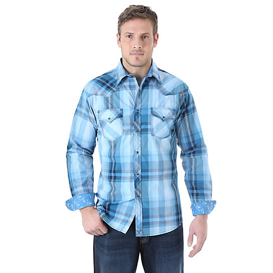 Wrangler® 20X® Long Sleeve Western Snap Plaid Contrast Trim Shirt (Big & Tall Sizes)