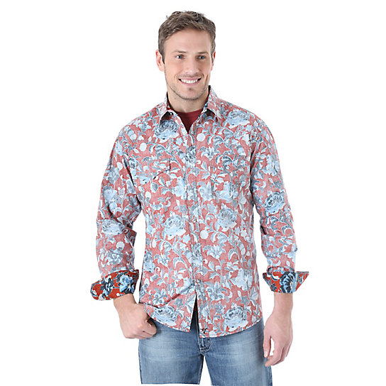 Wrangler® 20X® Long Sleeve Western Snap Print Contrast Trim Shirt (Big & Tall Sizes)
