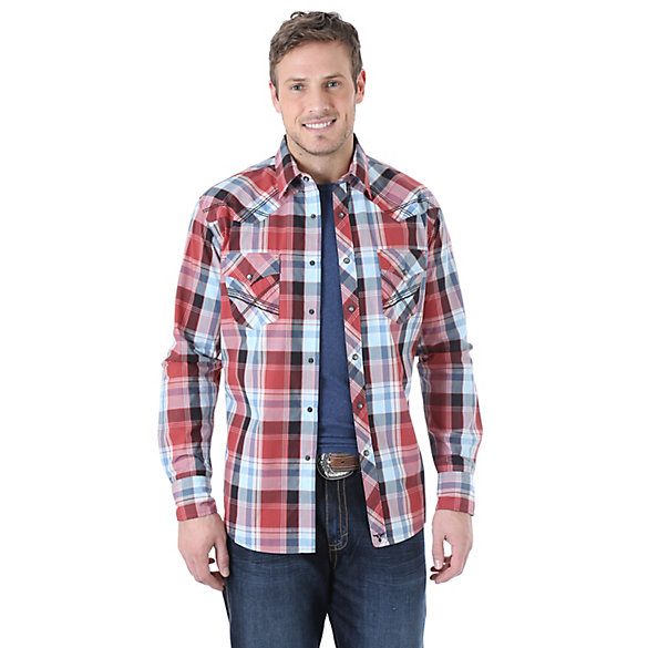 Wrangler® 20X® Long Sleeve Western Snap Plaid Shirt