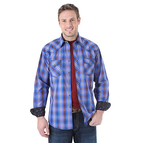 Wrangler® 20X® Long Sleeve Western Snap Plaid Contrast Trim Shirt